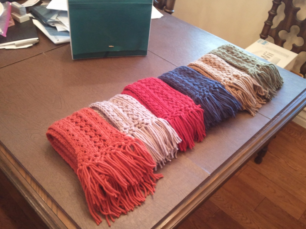 "Five Scarves Knitted by Zental Floss and ""SHIPPED"" at Christmas 2011."